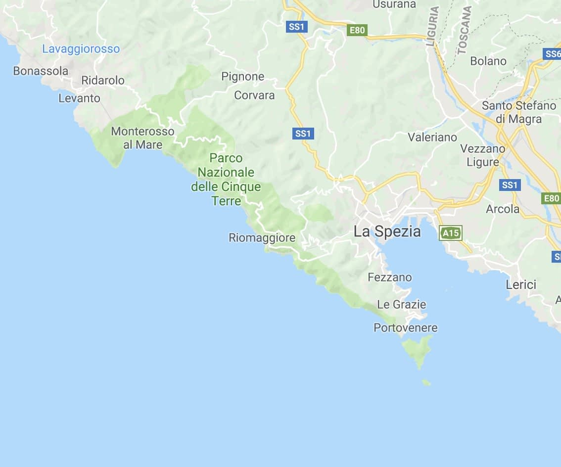 Map of Cinque Terre, Liguria