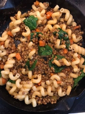 Lentils and pasta